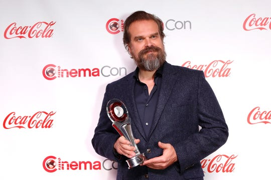 David Harbour won action star of the year at CinemaCon, the national convention of theater owners.