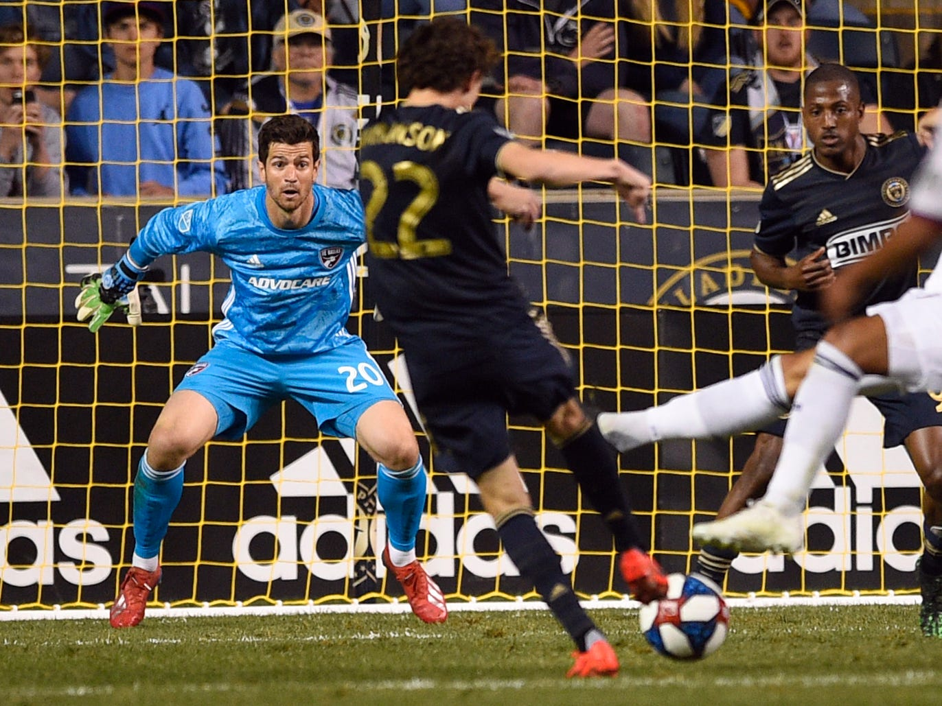 April 6: FC Dallas goalkeeper Jimmy Maurer watches a shot by Philadelphia Union midfielder Brenden Aaronson (22) during the first half at Talen Energy Stadium. Philadelphia won the game, 2-1.