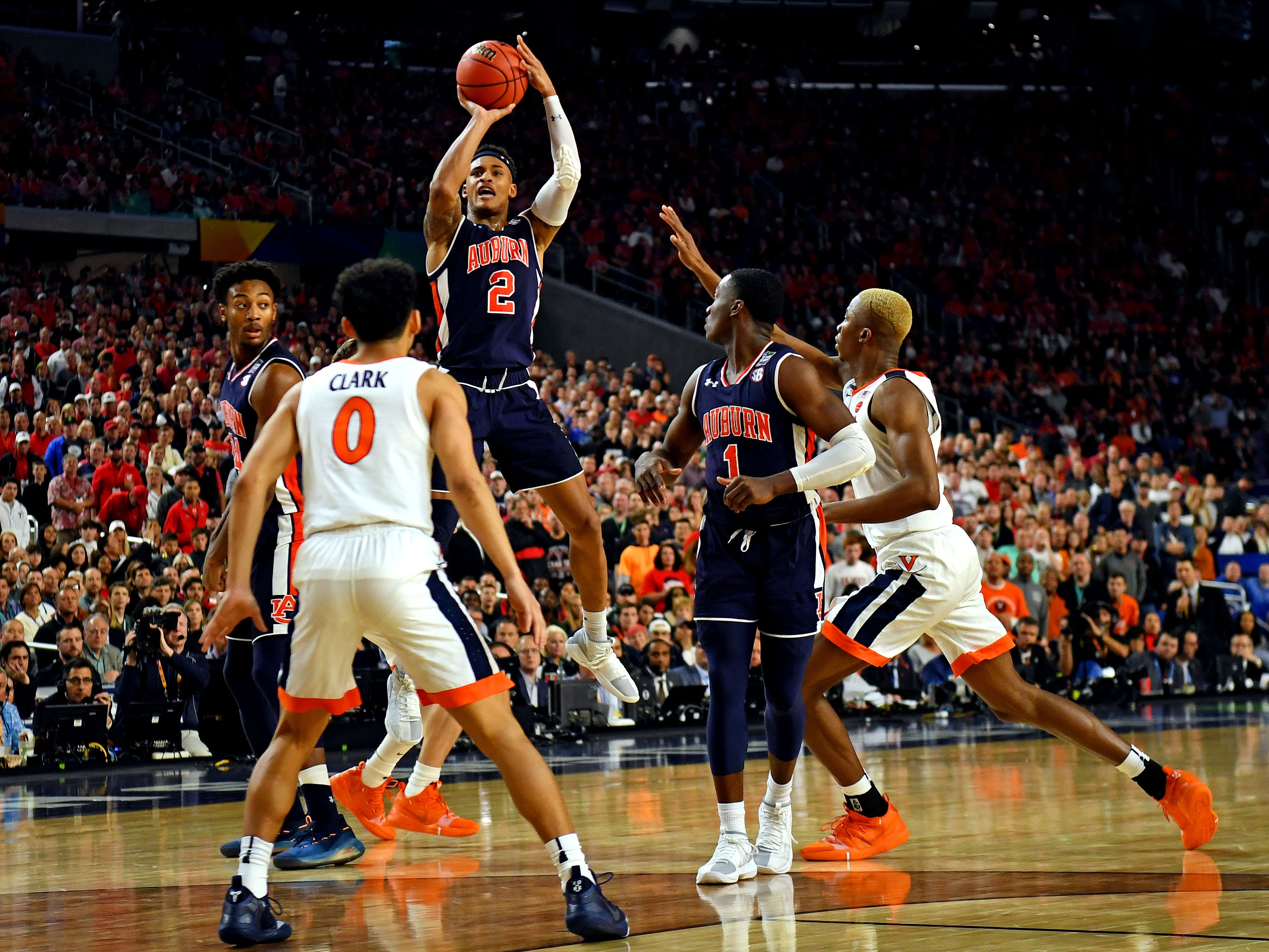 Auburn Tigers guard Bryce Brown (2) shoots the ball against the Virginia Cavaliers.