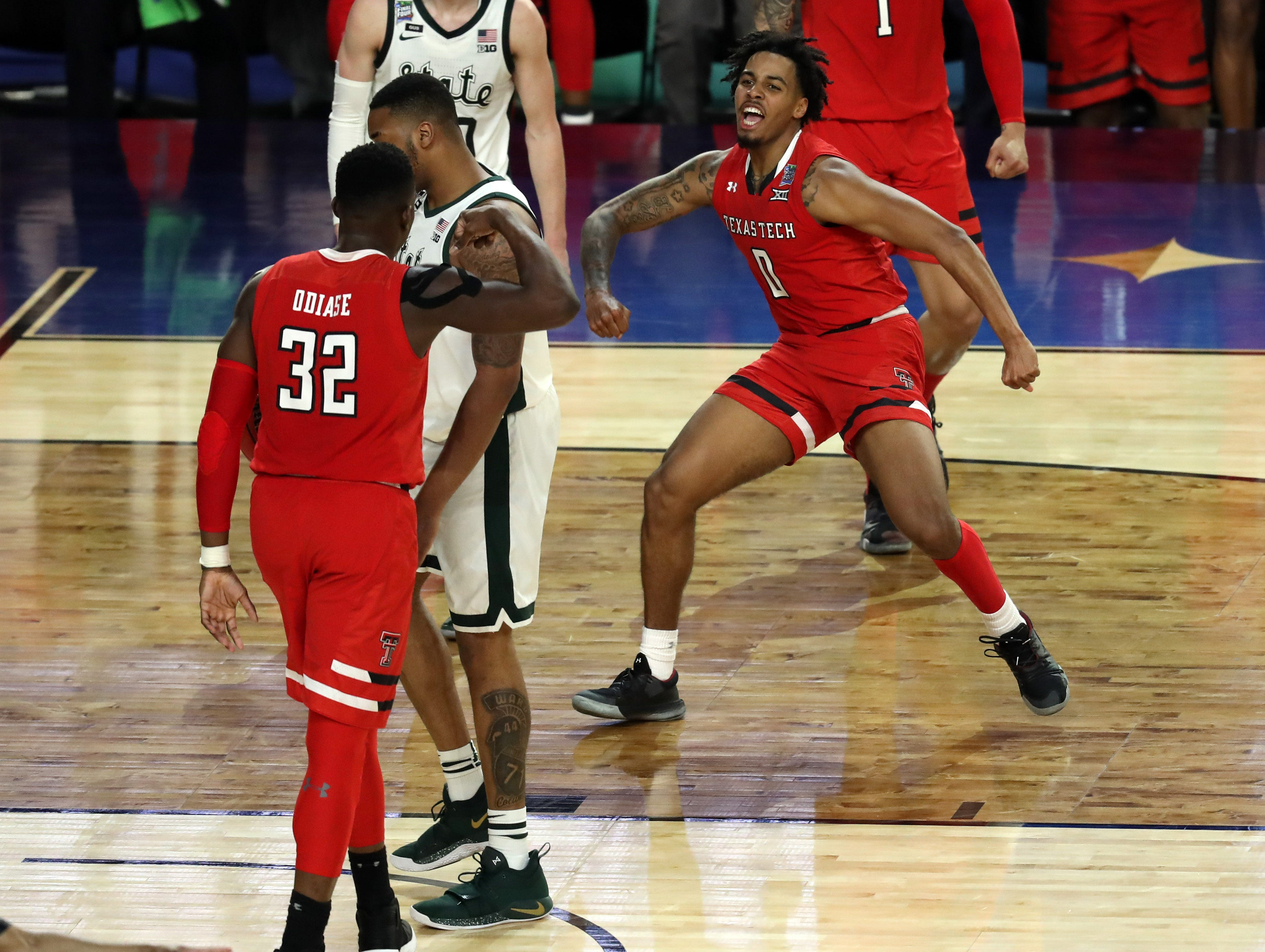 Texas Tech Red Raiders guard Kyler Edwards (0) celebrates after drawing a foul during the second half against the Michigan State Spartans.