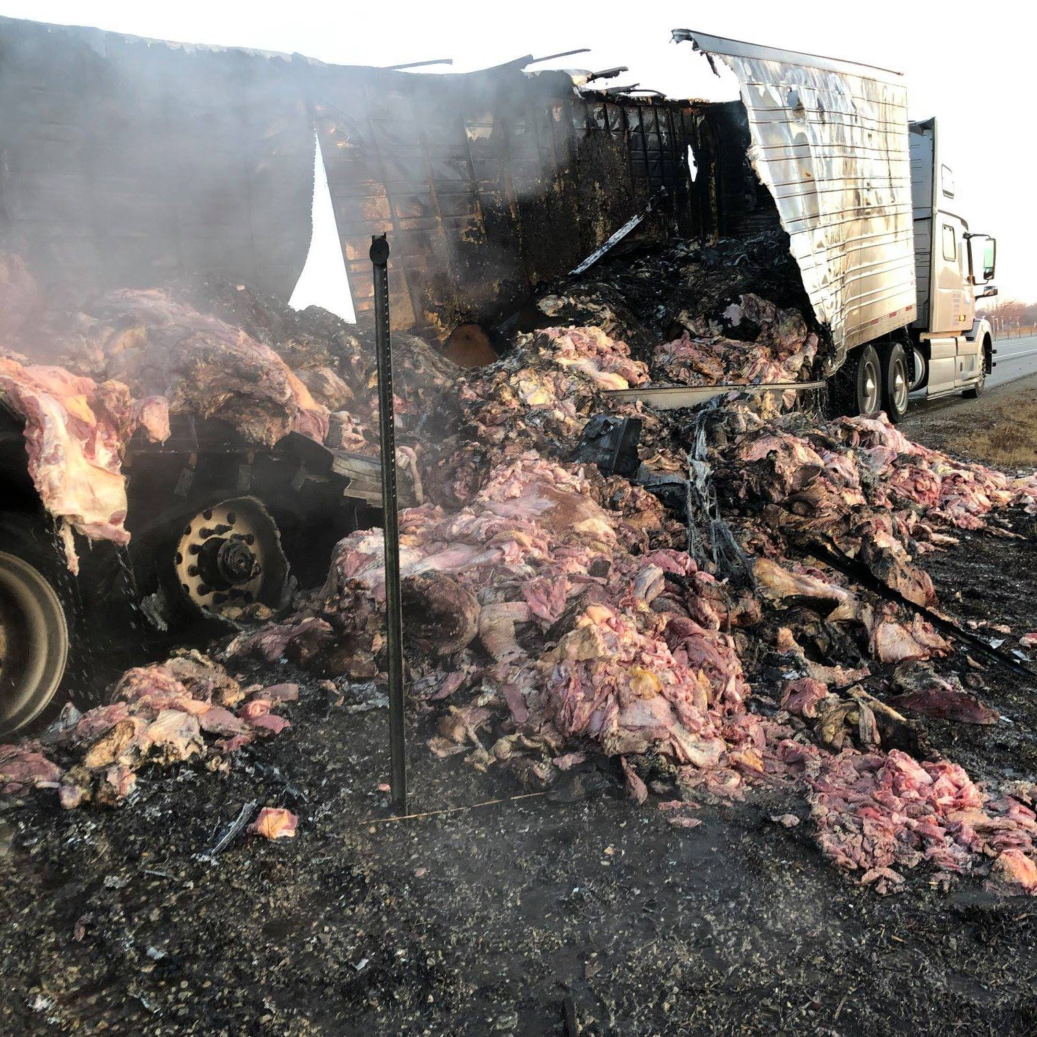 Semi-truck hauling 41,000 lbs of meat catches fire on Interstate 41 near Appleton