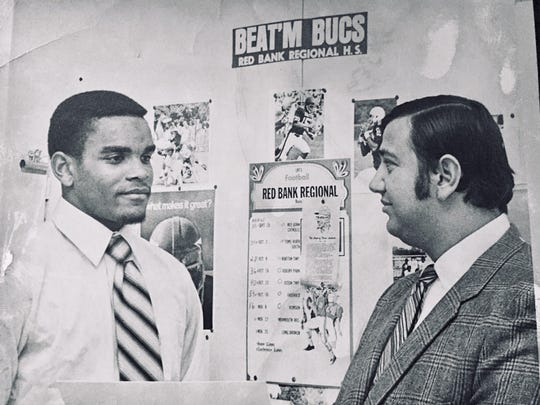 Red Bank head football coach Bob Strangia (right) and star player Lonnie Allgood during the team's unbeaten season in 1971.