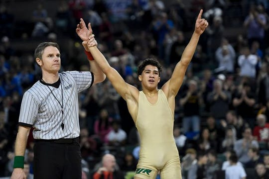 St. Joseph (Montvale's) Samuel Alvarez is shown after winning the NJSIAA 126-pound wrestling championship in March