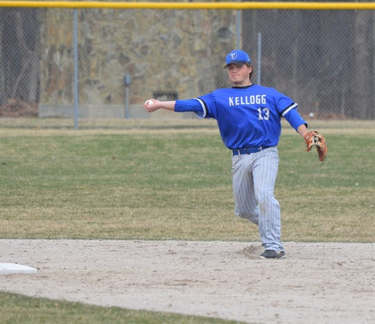 KCC infielder Connor Hnilo throws to first during play against Glen Oaks CC.