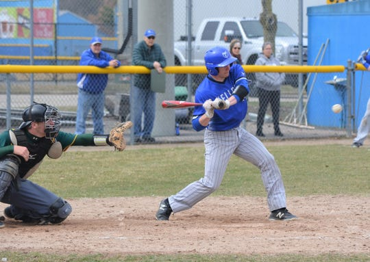 Former Pennfield graduate Kollin Kemerling takes a swing for Kellogg Community College in a game against Glen Oaks Community College on Friday.