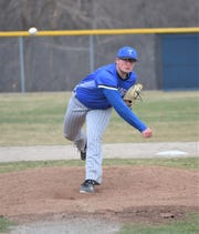 Zach Karbowski of Kellogg Community College pitches against Glen Oaks Community College on Friday at Bailey Park.