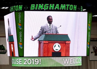 Binghamton University Assistant VP for Student Affairs Randall Edouard tells welcomes students during the Admitted Student Open House in April.