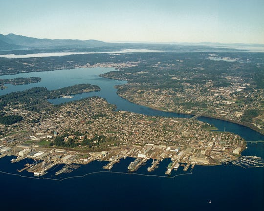 A view of Puget Sound Naval Shipyard, one of four Naval shipyards in the country.