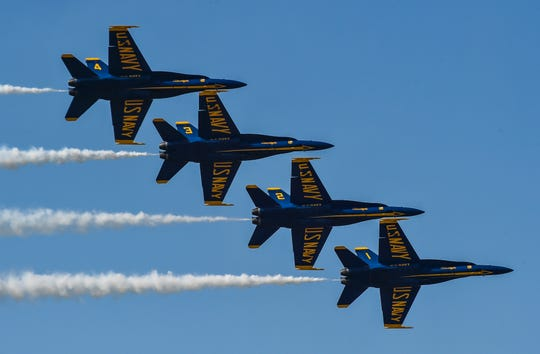The U.S. Navy flight demonstration squadron, the Blue Angels, perform the left echelon roll maneuver during a demonstration at the California International Airshow earlier this year. The Blue Angels return to Smyrna next week for the first time since a 2016 crash claimed the life of Capt. Jeff Kuss, who flew the No. 6 jet.