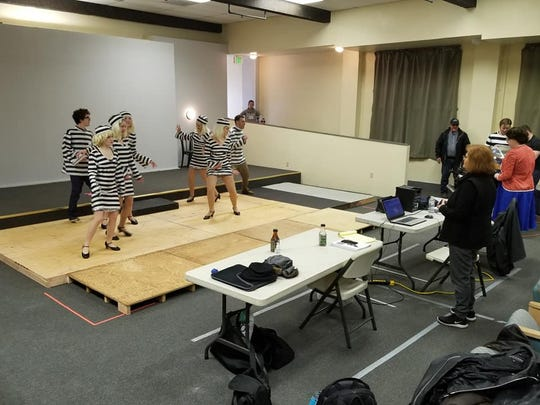 """Vicki Richards (right) supervises a dance rehearsal for """"All Shook Up."""""""