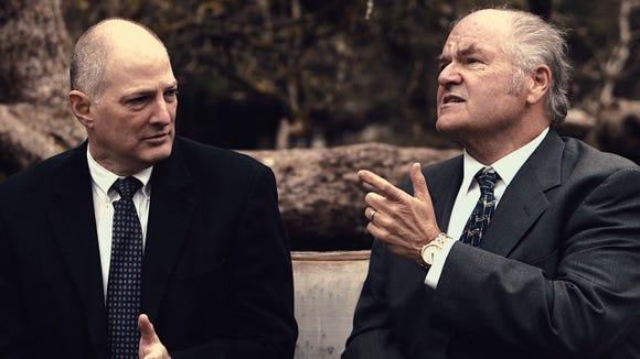 "Andrey Botvinnik (John Ellis, right) makes a point to John Honeyman (Joel Underwood) in Lee Blessing's drama ""A Walk in the Woods."""