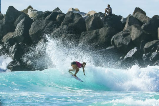QUEENSLAND, AUSTRALIA - APRIL 8: Caroline Marks of USA advances to the final of the 2019 Boost Mobile Pro Gold Coast after winning Semi Final Heat 1 at Duranbah Beach on April 8, 2019 in Queensland, Australia.