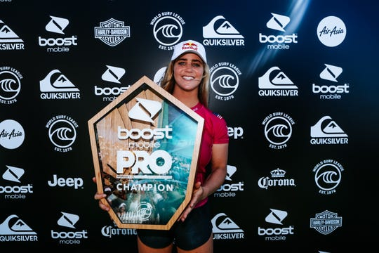 QUEENSLAND, AUSTRALIA - APRIL 8: Caroline Marks of USA wins the 2019 Boost Mobile Pro Gold Coast after winning the final at Duranbah Beach on April 8, 2019 in Queensland, Australia.