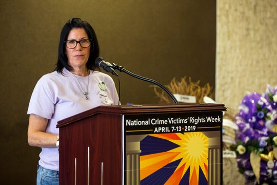 Fallon Wood speaks about the Nueces County Victims' Memorial Garden during the National Crime Victims' Rights Week Wreath Ceremony at the Nueces County Courthouse on Monday, April 8, 2019. Wood had been a vocal critic of the Nueces County District Attorney's Office lack of resources for victims, but Monday said the office was moving in the right direction.