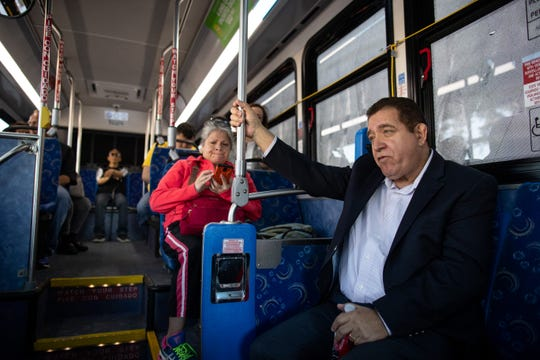 Corpus Christi City Council Member At-large Rudy Garza Jr. rides a RTA bus along with other City Council members from the Staples Street Station to the Port Ayers Station on Monday, April 8, 2019.