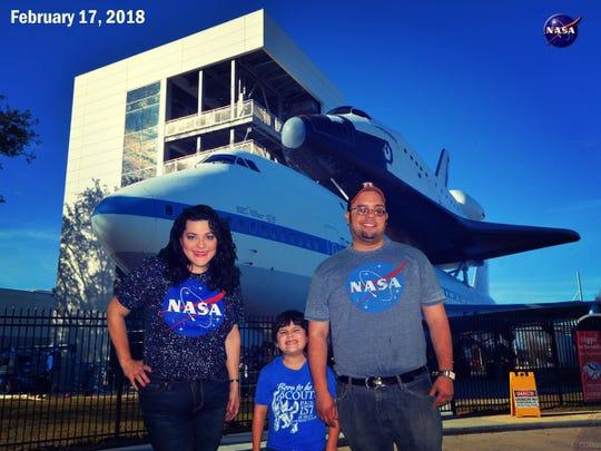 The Lamb family, Christine (from left), Luke and Michael, visited Johnson Space Center in Houston.
