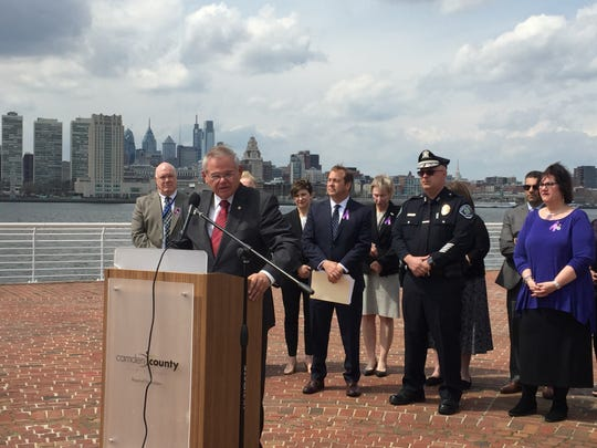 U.S. Sen. Robert Menendez announces bipartisan legislation aimed at stemming the flow of illicit fentanyl, a deadly synthetic opioid, into American ports. Menendez, speaking on the Camden Waterfront Monday, is flanked by Camden County officials.