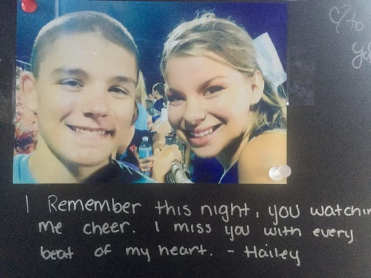 Hailey Wilmot wrote down this remembrance of Nicholas DiMona III at a vigil in Medford Lakes Sunday.
