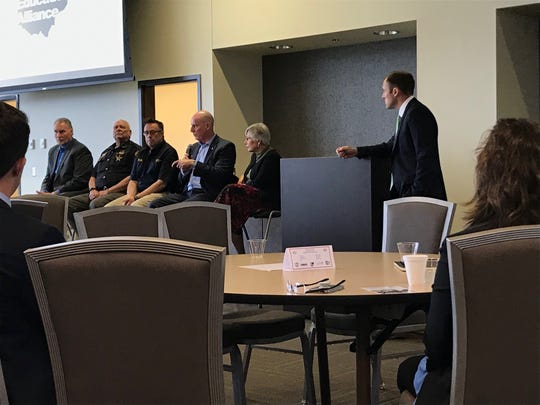 (L-R) Jack Everson, Deputy Dave Weber, Capt. Ron Myers, Chad Jester, Sharon Stanley and Mayor Luke Feeney have a panel discussion about the opioid crisis in Ross County.