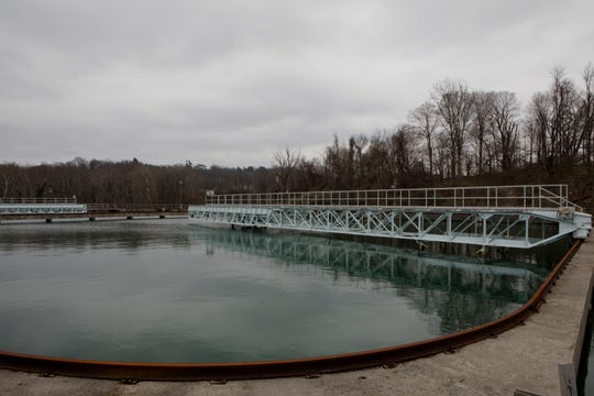 A water clarifier at the Richard Miller Treatment Plant off Kellogg Avenue in Cincinnati, on Friday, March 29, 2019. The treatment plant is responsible for the majority of the City of Cincinnati's water.