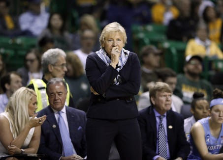 North Carolina women's basketball coach Sylvia Hatchell instructs her team against California on March 23 in Waco, Texas.