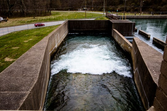 Water flows into the Richard Miller Treatment Plant off Kellogg Avenue from retention ponds from the California Golf Course into the treatment facility in Cincinnati, on Friday, March 29, 2019. The treatment plant is responsible for the majority of the City of Cincinnati's water.
