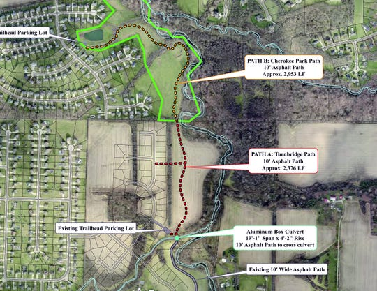 Construction on a mile-long hiking/biking that begins at the  Turnbridge subdivision at Millikin Road and ends at the fishing ponds at  Cherokee Park will begin in June.