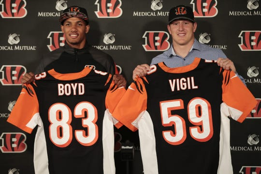 The Bengals introduced their second round pick wide receiver Tyler Boyd, left, and third round pick linebacker Nick Vigil, right, Saturday, April 30, 2016, at Paul Brown Stadium in Cincinnati.
