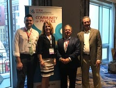 Ron Ottinger and Gerald Solomon on the right and FRSD Superintendent Kari McGann and Ralph Losanno (FRSD Supervisor of Technology). Solomonis the director of the Samueli Foundation and Ottingeris the director of STEM Next foundation. Both are SLECOP funders for the stem learning ecosystems.