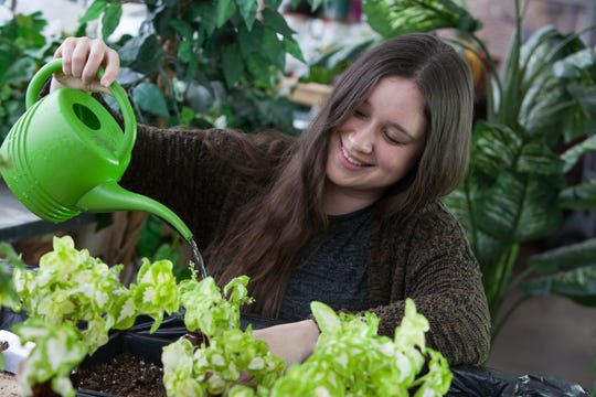 RVCC Environmental Science major Amber Lindsay in the college's greenhouse.