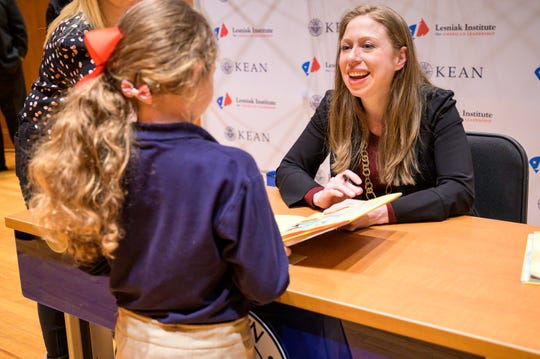 "Chelsea Clinton presented a sold-out discussion, book signing and audience Q&A at Kean University's Enlow Recital Hall Thursday night, which centered on her fifth children's book ""Don't Let Them Disappear."""