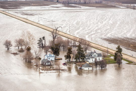 Property south of Percival remains flooded on March 28, 2019, when this image was captured by the Iowa Department of Transportation.