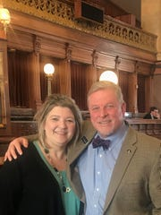 Michelle Spear of Lacona, co-founder of Iowa Adoptee and Family Coalition, visited state Rep. Scott Ourth at the Capitol. She has worked on securing rights for adoptive children.