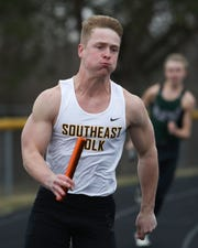 Carter Olsen competes in the Ram Relays on Thursday, April 4, 2019 at Southeast Polk High School.