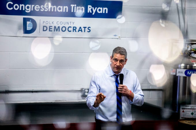 U.S. Rep. Tim Ryan, D-Ohio, speaks to a crowd of people gathered at a meet and greet event organized by the Polk County Democrats on Sunday, April 7, 2019, at Fox Brewing in West Des Moines. This is Ryan's first visit to Iowa after announcing he's running for president.