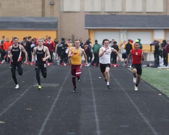Southeast Polk's Mason Whitlatch runs the 100-meter dash April 4 at the Ram Relays.
