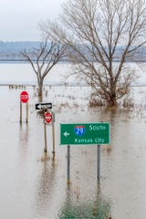 Interstate Highway 29 was underwater between U.S. Highway 34 and Hamburg in this image from April 4, 2019, provided by the Iowa Department of Transportation. Dozens of miles of interstates and U.S. and state highways were closed for weeks because of flooding in 2019.