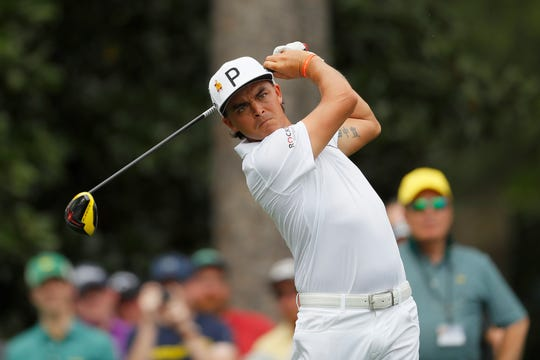 Rickie Fowler plays a shot during a practice round prior to The Masters at Augusta National Golf Club on April 08, 2019 in Augusta, Ga.