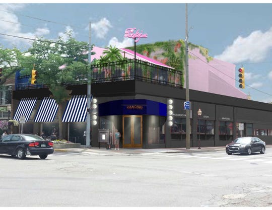 A rendering for Pinky's Rooftop, a cocktail lounge atop Diamonds Steak and Seafood in downtown Royal Oak.