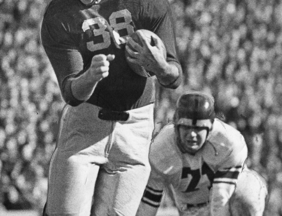 Fullback Robert Wiese captained the University of Michigan's 1944 football team. He led the Wolverines to a 6-1 record, but was called into military service and missed the final three games. He returned to the team after the war and went on to play for the Detroit Lions in 1947 and '48.
