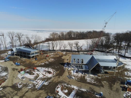 Construction continued through the winter on a new administration building and visitors center at the Edsel and Eleanor Ford House in Grosse Pointe Shores.