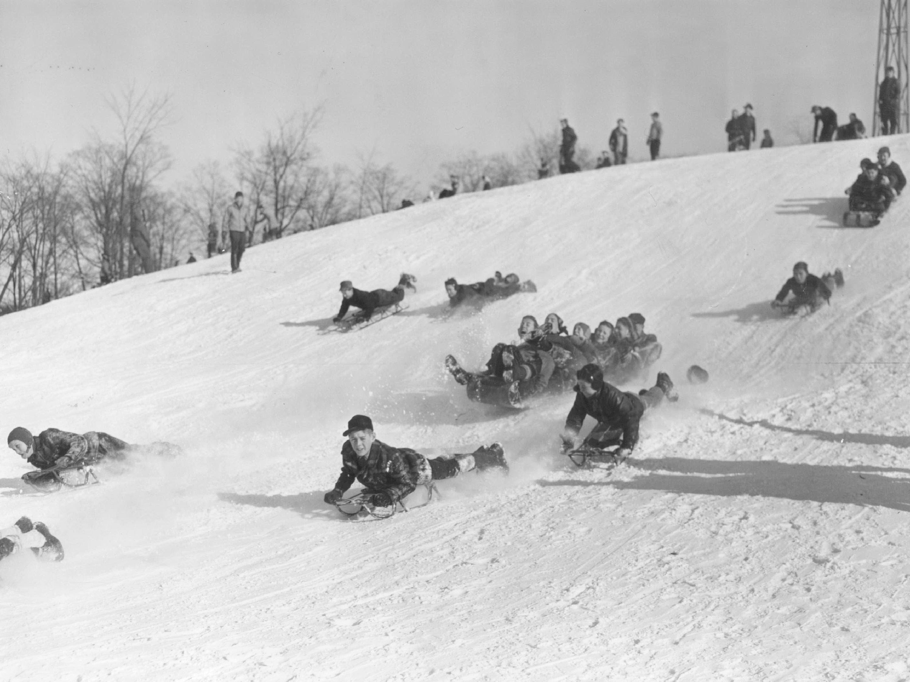 Youngsters on sleds and toboggans  sail down the hill at Rouge Park in Detroit.