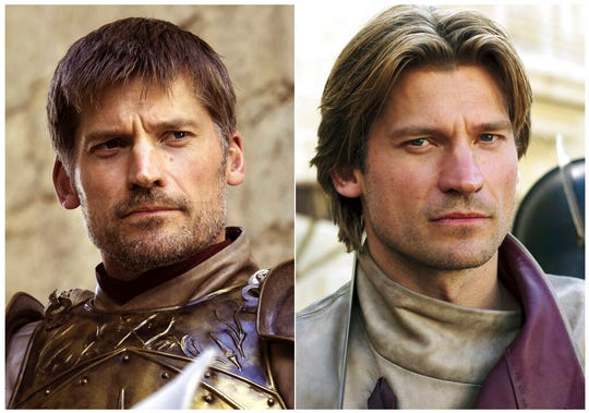 This combination photo of images released by HBO shows Nikolaj Coster-Waldau portraying Jaime Lannister.