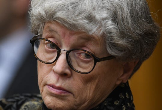 Former Michigan State University President Lou Anna Simon appears in District Judge Julie Reincke's courtroom, Monday, April 8, 2019, in Charlotte, Mich., for the second day of her preliminary hearing. Simon faces four charges, including two felonies, because investigators say she lied to police about when she knew about a sexual assault report against former MSU doctor Larry Nassar.