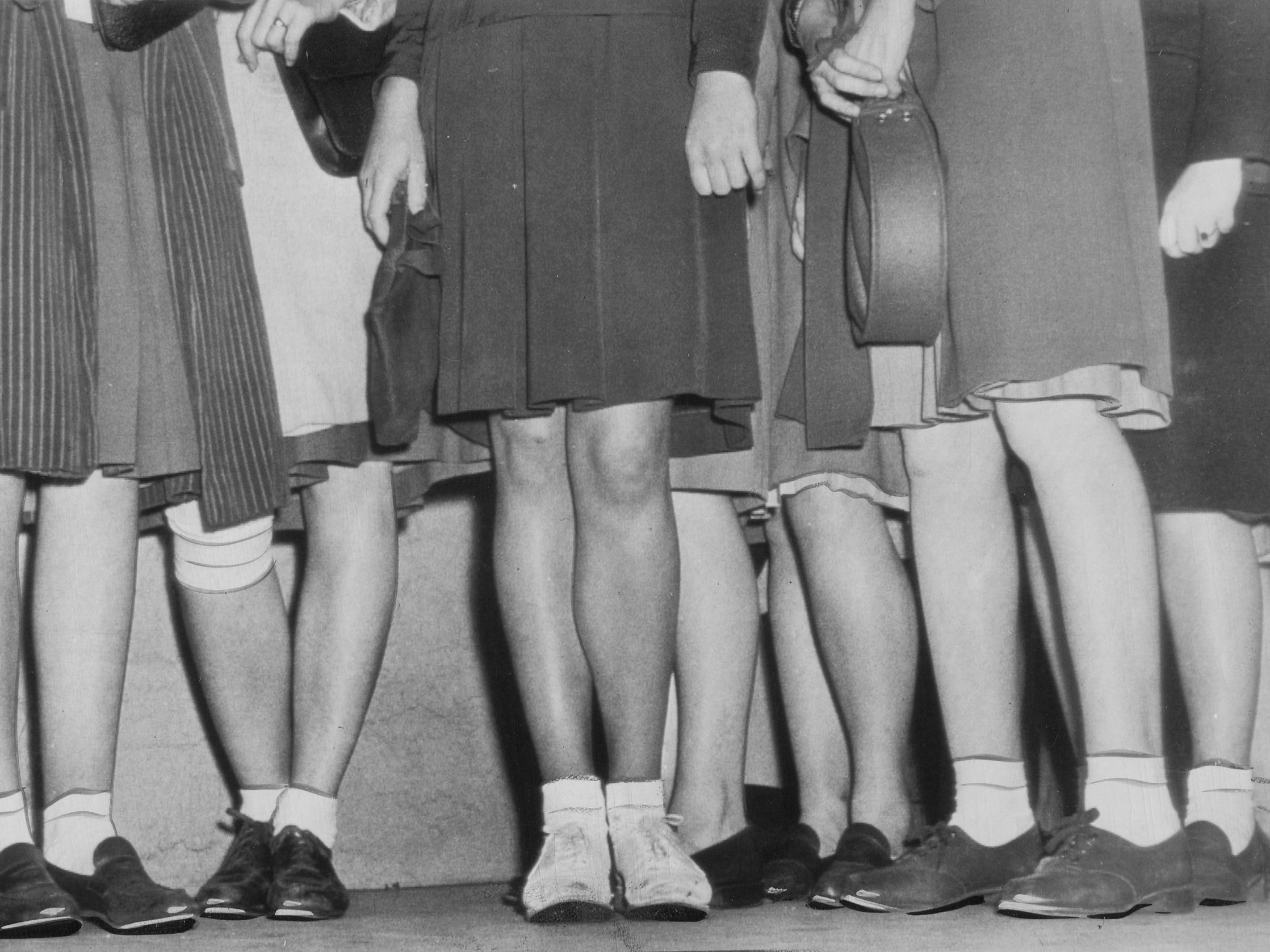 With nylon production channeled into the war effort for parachutes, ropes, mosquito netting, etc., women had to find an alternative for nylon stockings.  The bobby sox craze was born, and would last for another decade.