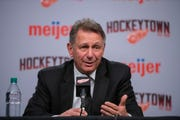 General manager Ken Holland is interviewed when the Red Wings cleaned out their lockers at LCA on Monday.