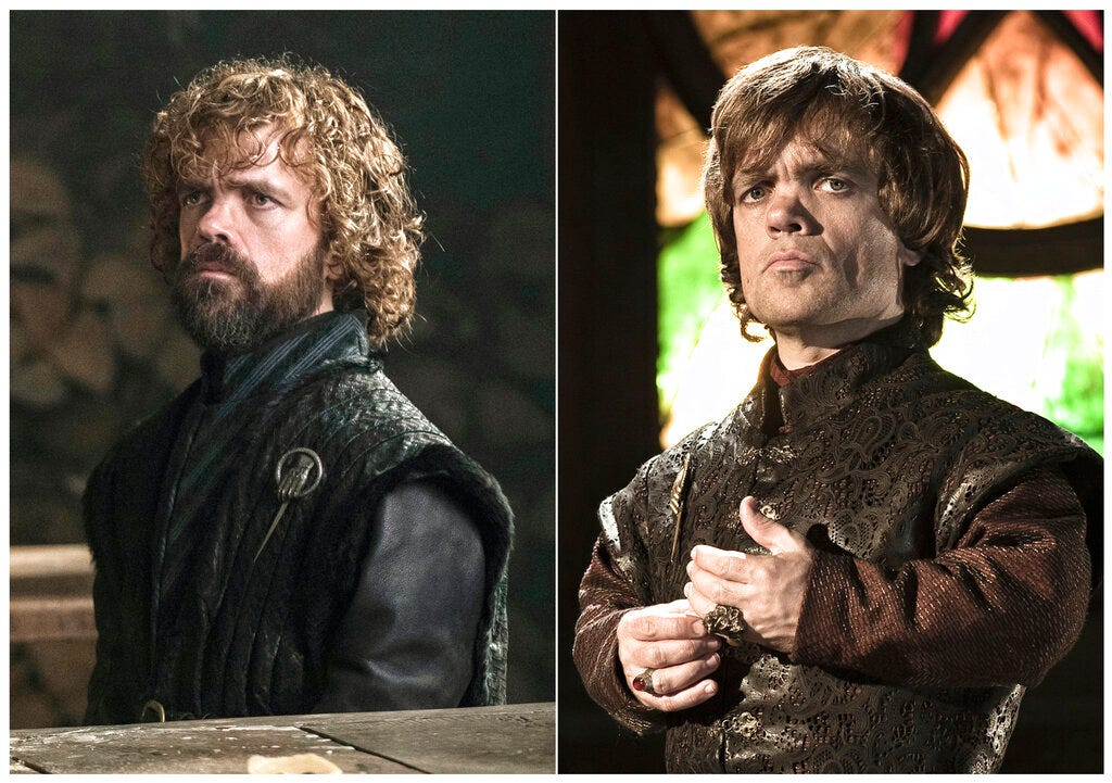 This combination photo of images released by HBO shows Peter Dinklage portraying Tyrion Lannister.