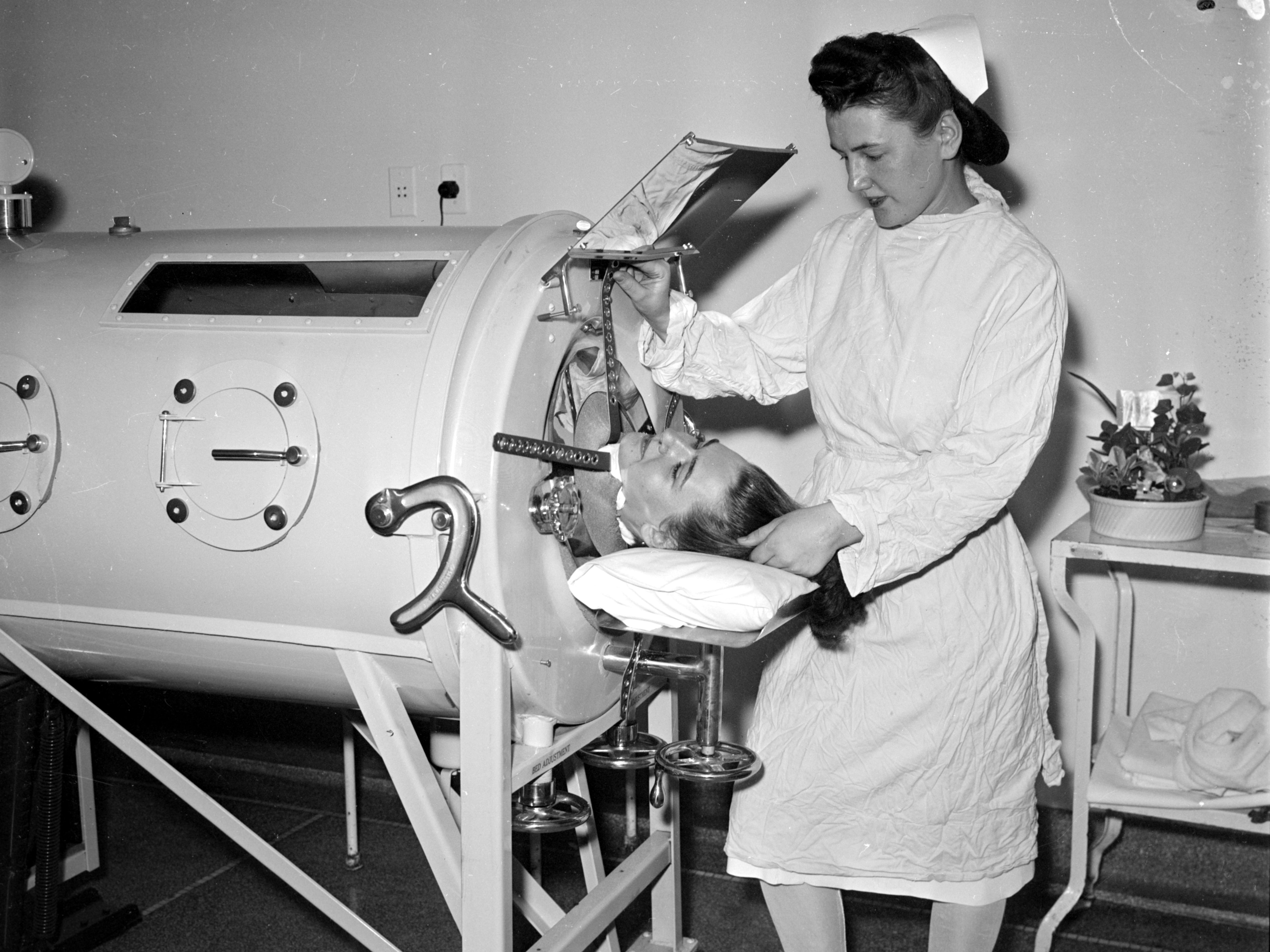 "In Wayne County, 1,562 volunteers responded to a call to assist nurses by learning how to feed polio victims, who were kept in ""iron lungs"" to help them breathe."