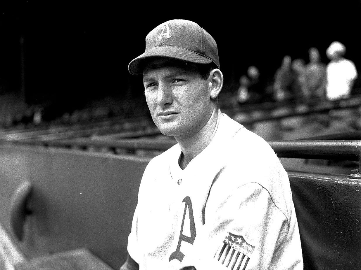 Which future Tigers star was wearing a Philadelphia Athletics uniform at Briggs Stadium in 1944?  Third baseman George Kell, who joined the Tigers in 1946 and would go on to a Hall of Fame career.
