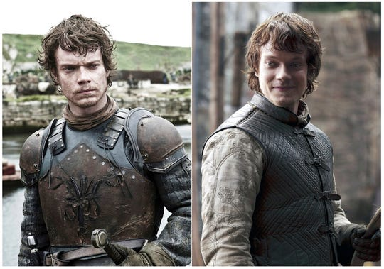 This combination photo of images released by HBO shows Alfie Allen portraying Theon Greyjoy.
